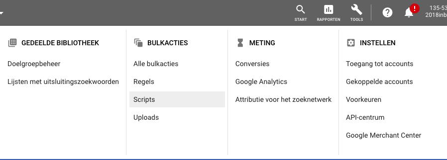 voorbeeld script google ads